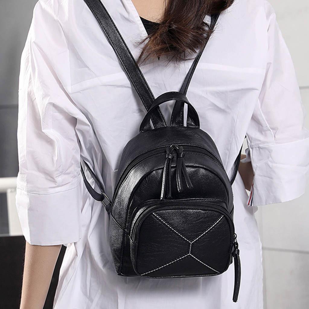 Kadınlar Moda Katı Renk Sırt Çantası Katı Renk Mumya Çanta Sığ Ağız Sırt Çantası