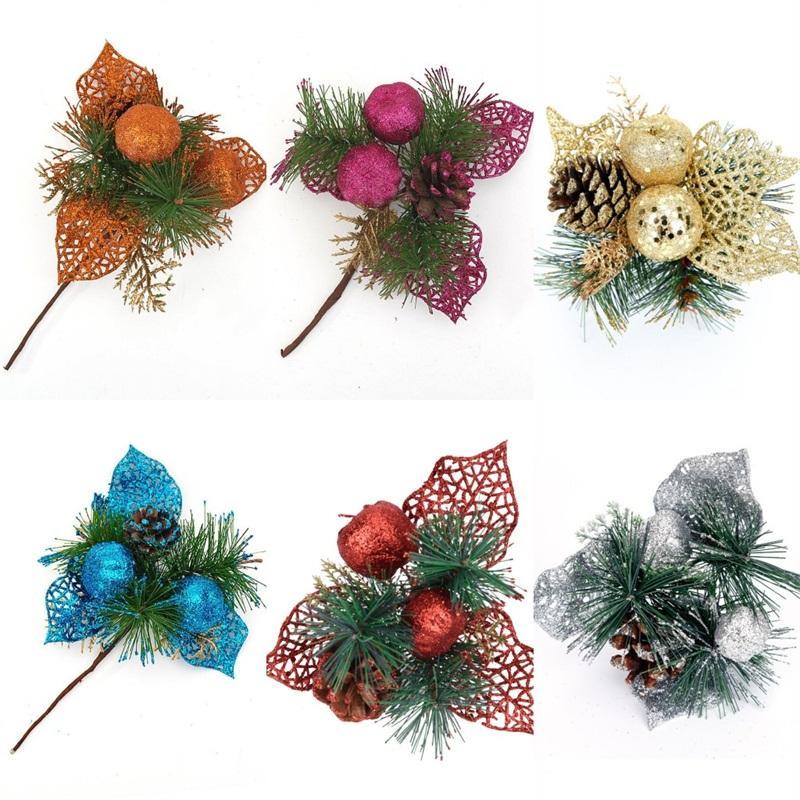 Navidad Decorar Hacer corte Colores Rojo Plata Flor agujas del pino Cono Ramita Los cortes populares con oro 3 9GH J1