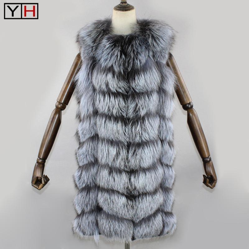 Nuovo Inverno argento genuino della maglia della pelliccia Lady Warm 100% del rivestimento naturale pelliccia reale senza maniche russa femminile di moda Cappotti