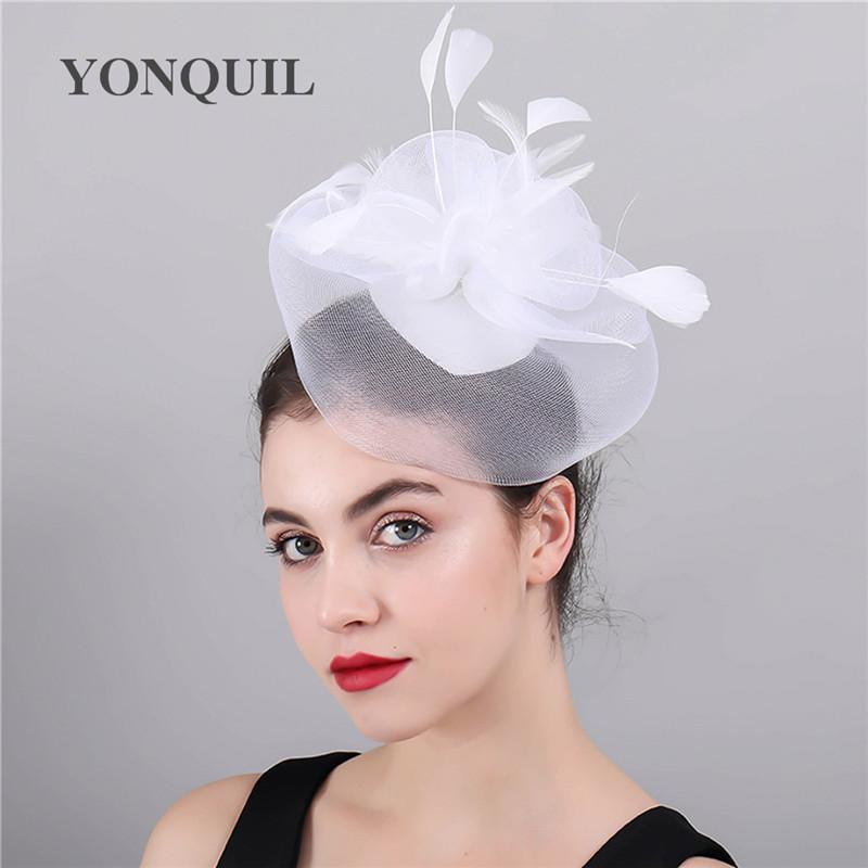 Bridal tulle face hair combs headwear white flower wedding accessory fascinators married fedora women headwear fancy feather hat SYF415