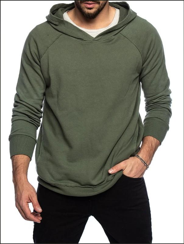 Casual Herbst Menshoodies-Fashion Solid Color Langarm-Kapuzenpulli Pullover Tops New Herrenkleidung