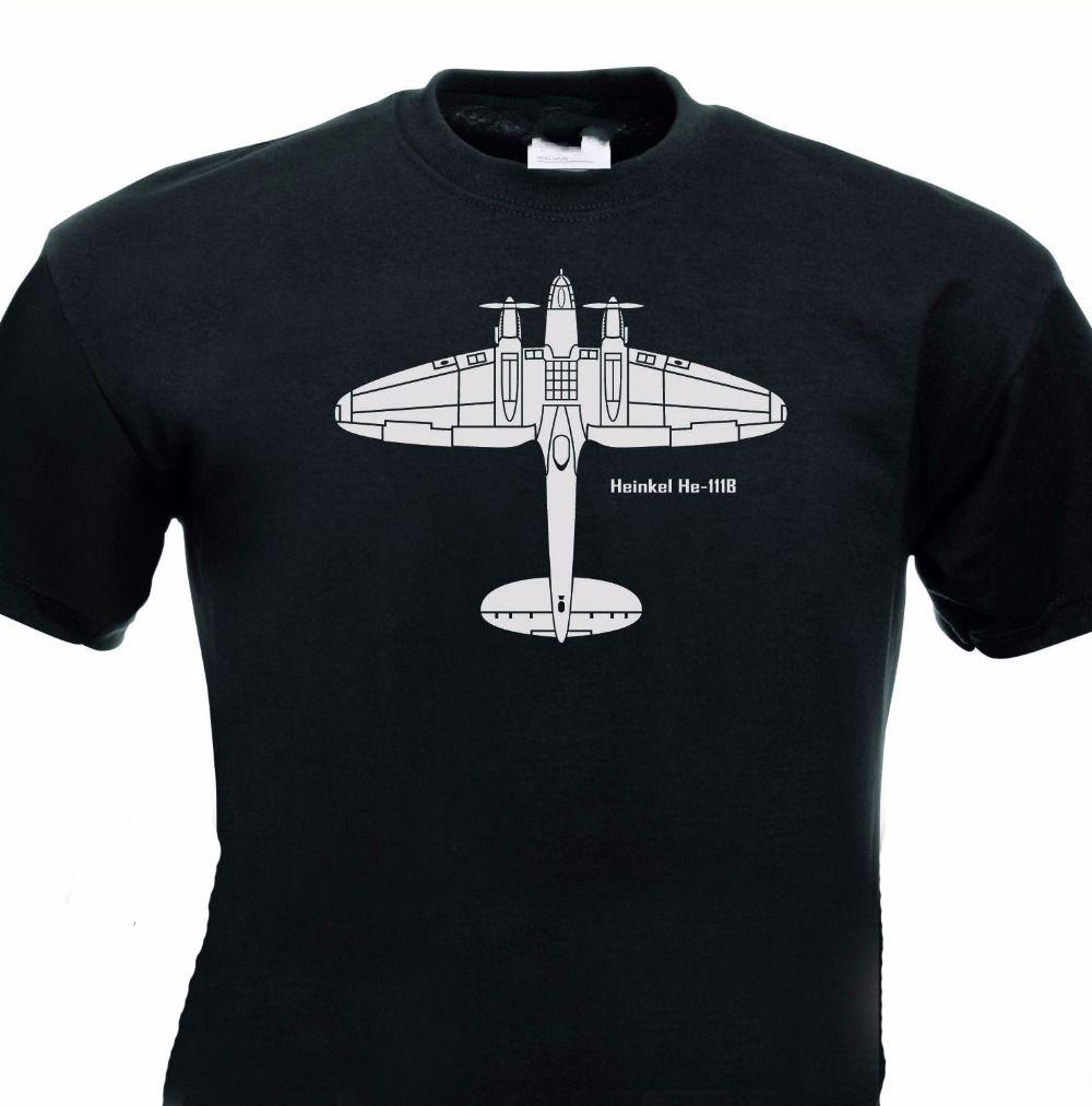лето стиль футболки случайные хлопка с коротким рукавом печати о-шее битнику Хейнкель he111 бомбардировщик Германии самолет смешной футболки