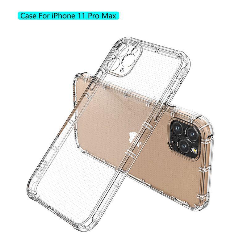 Cajas de teléfono a prueba de golpes para iPhone 13 12 11 Pro MAX XS XR X SE 7 8 PLUS CORRE DE TPU TPU transparente transparente