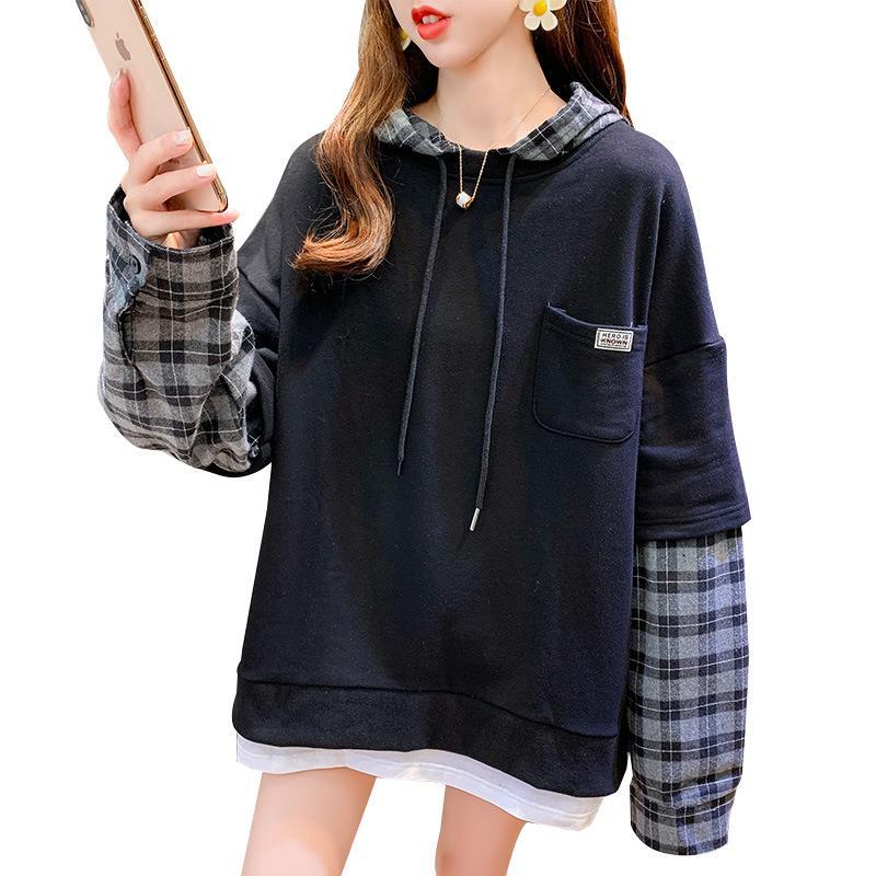 Mulheres com capuz camisola de algodão Mid-length O-Neck t-shirt feminina outono inverno novo estilo da manta solta pulôver plus size m-2xl cinza amarelo preto