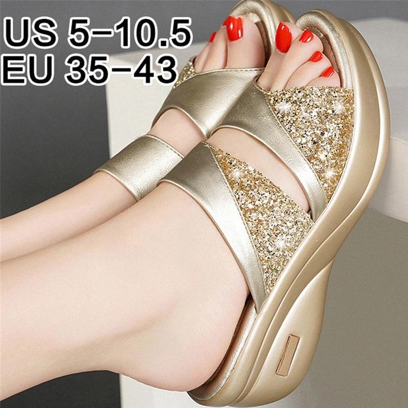 Sapatos de verão da plataforma Mulher Sandals Senhoras Gladiator Sandals Mulheres Bling Wedage Sapatos Mulher Salto Alto Sandalias Mujer OuIk #