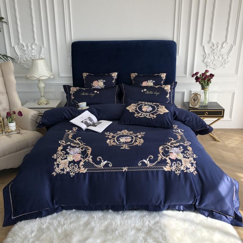 Royal Blue elegante Bordados 60S cetim lavado Silk Bedding Set Algodão Duvet Cover cama lençol de linho cabido Fronhas Roupa de Cama jogos de cama