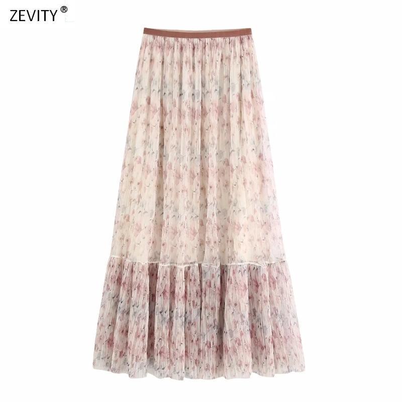 Yeni 2020 Kadınlar bağbozumu çiçek baskı uzun etek faldas mujer şık bayan patchwork fırfır örgü vestido Retro etekler QUN626 pilili