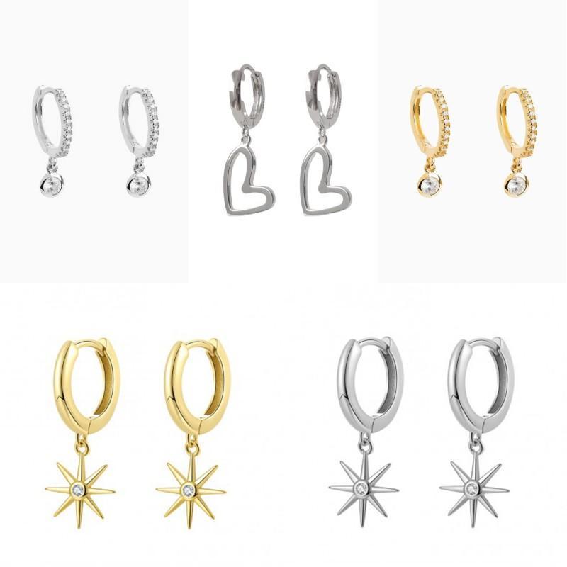 2020 100% reale Sterlingsilber-S925-Band-Ohrring-Zusätze für Frauen-Hochzeits-Verpflichtungs netten Bling Stern-Liebe-Herz-Ohrringe