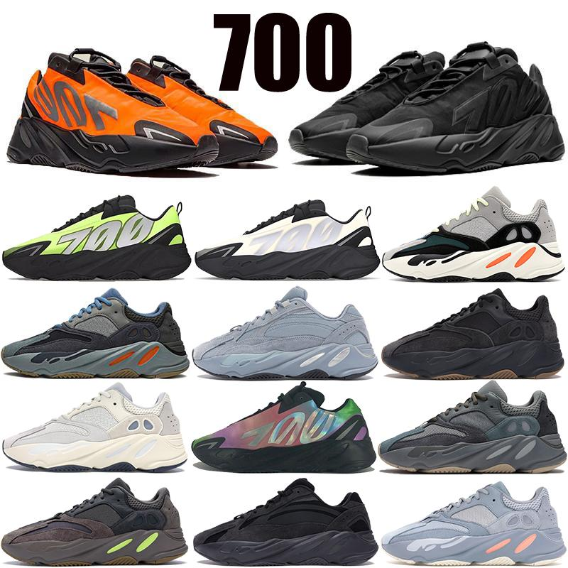 700 V2 Runner Kanye batı Tephra Katı Gri Kadınlar Karbon Teal Mavi Statik Spor Fosfor Kemik Erkekler Sneakers ile Kutu Koşu Ayakkabıları yansıtıcı