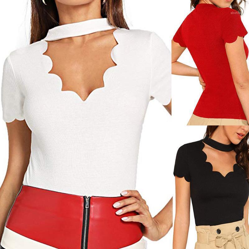Женская футболка Летняя Женская Одежда Мода Сексуальная Пустота с V-образным вырезом Tee Рубашки Дамы Повседневная короткая рукава Сплошные кружевные туники Tops1