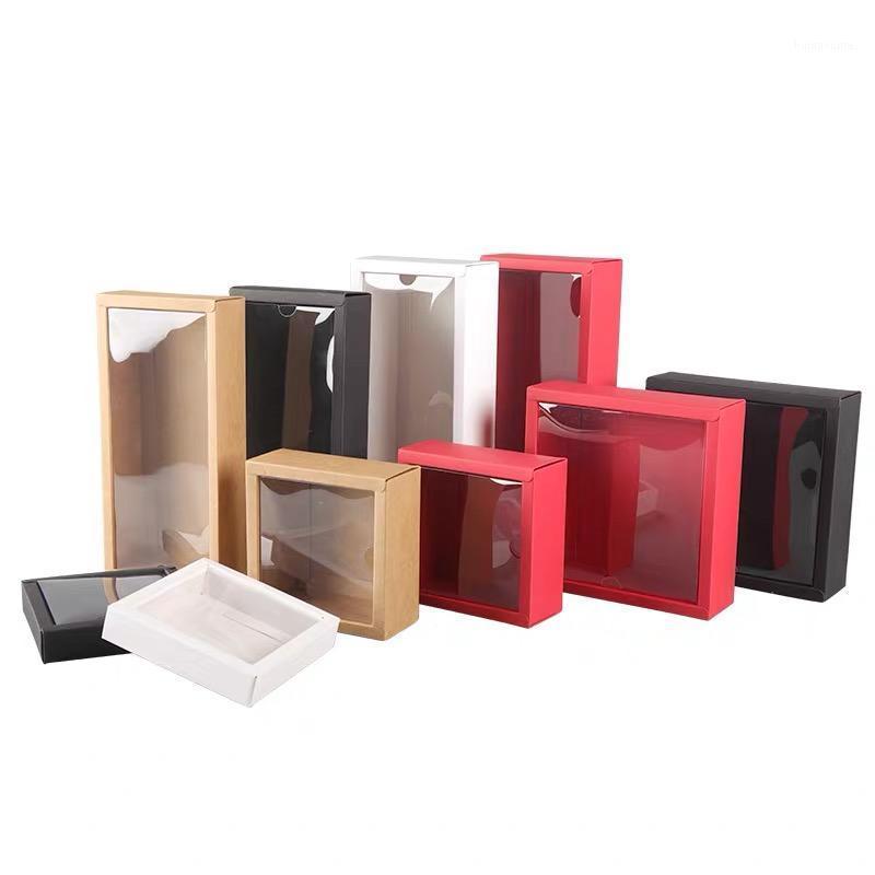 Boîte-cadeau en papier kraft noir de 10pcs avec fenêtre en PVC transparent Boîte à gâteaux de papier blanc de mariage rouge Cookie Candy Clear Emballages1