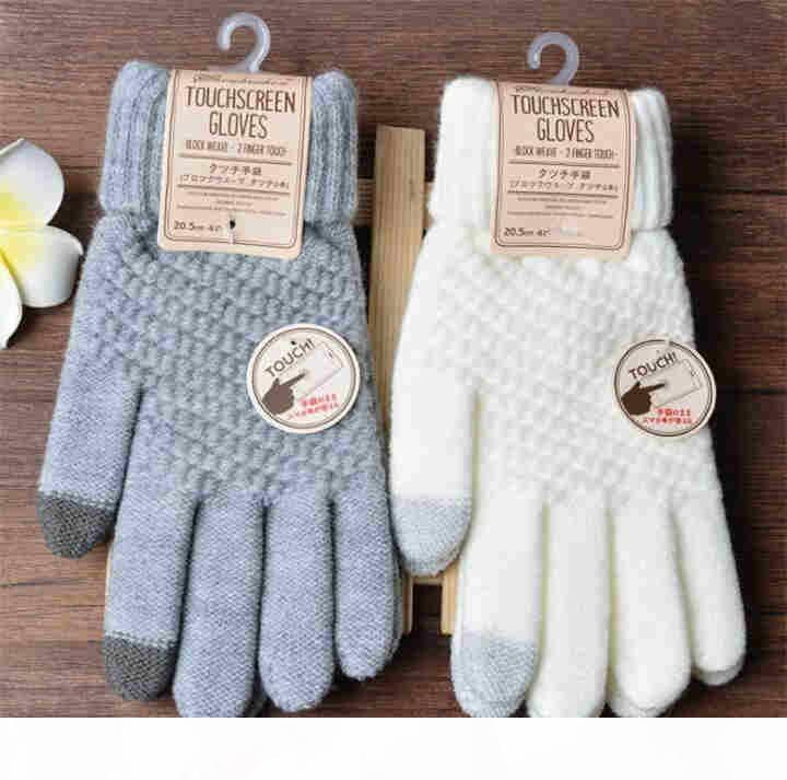 Winter-Touch-Screen-Handschuhe Frauen-Frauen-Männer warme Stretch-Strick-Handschuhe Imitation Wolle volle Finger Guantes weiblich häkeln luvas verdicken t590