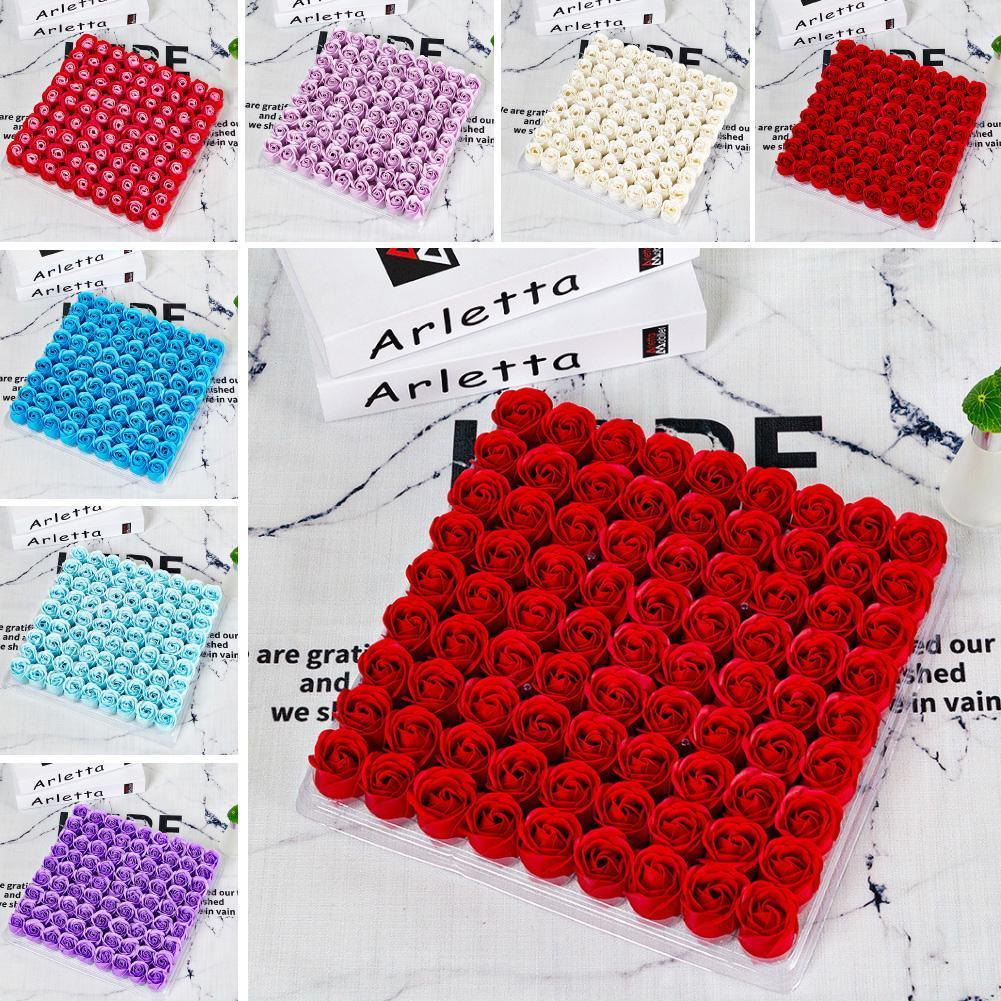 81pcs Soap Rose Flower Head Artificial Flowers Gift Box Wedding Decorations DIY Handmade Valentines Day Gifts w-00668