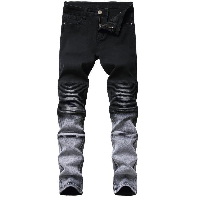 Moto Biker Patchwork Jeans Jeans Uomo Pieghettato Pantaloni Slim Denim Denim Pantaloni a figura intera Cowboy maschile