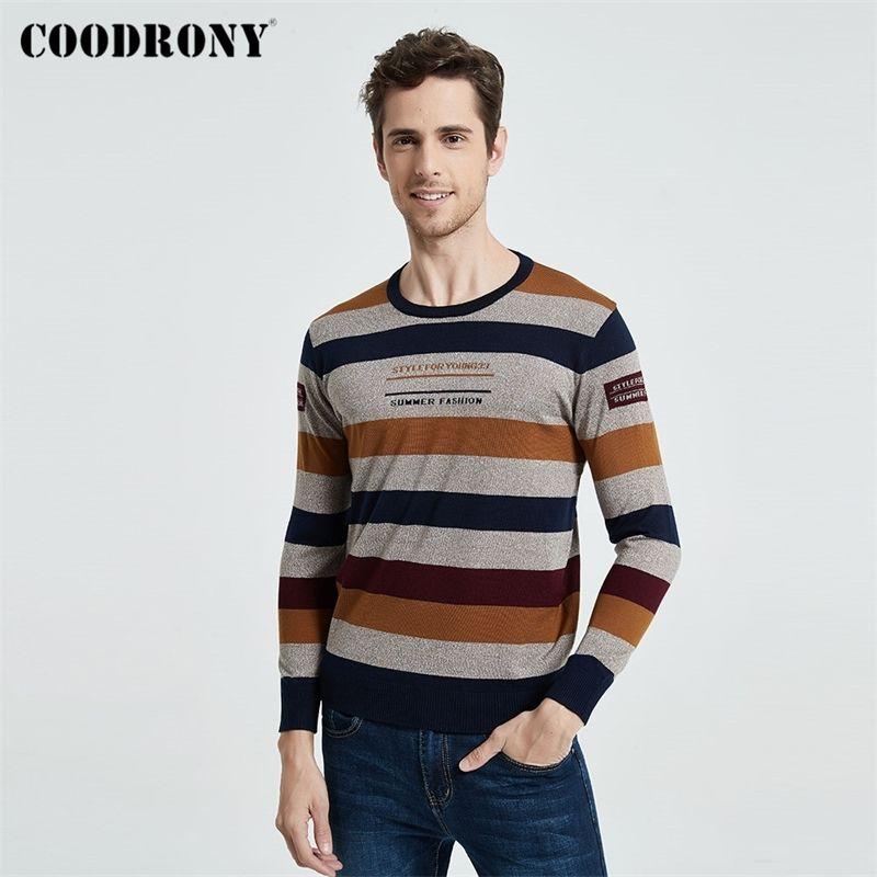 Coodrony Marka Kazak Erkekler Streetwear Moda Çizgili O-Boyun Kazak Örme Gömlek Çekin Homme Sonbahar Kış Pamuk Jumper 91060 201125