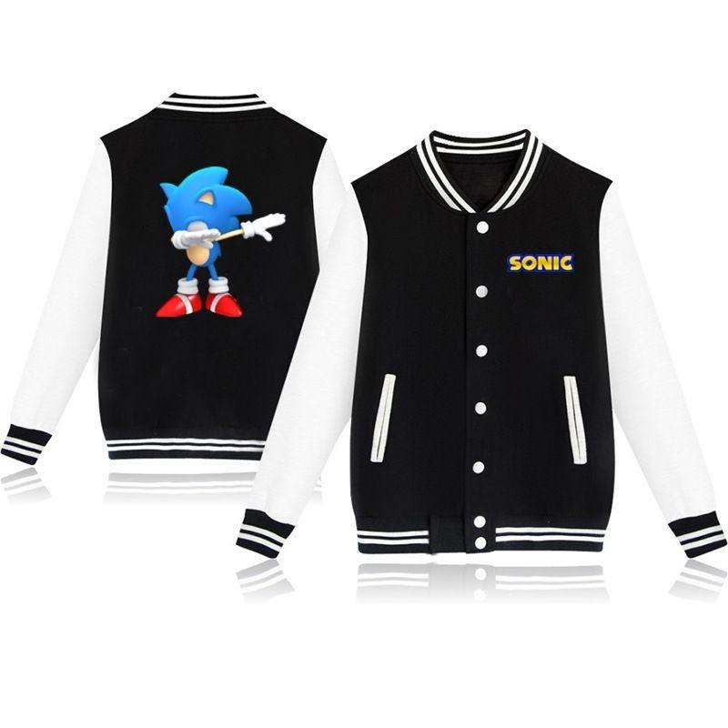Bambini Ragazzi e ragazze Sonic The Hedgehog Stampato Giacca a manica lunga in cotone Casual Fashion Fleece Baseball Uniform Tops Y201026