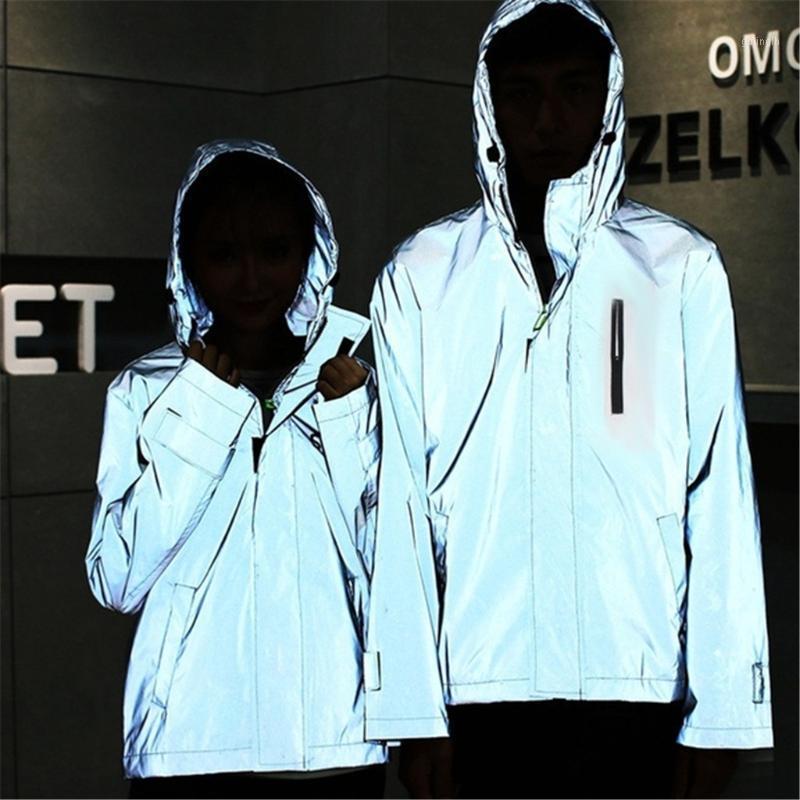 Nuova giacca riflettente completa Uomini / donne HARAJUKU Giacche a vento Giacche con cappuccio Streetwear Cappotto Night Shiny Zipper Cappotti Giacca # 401