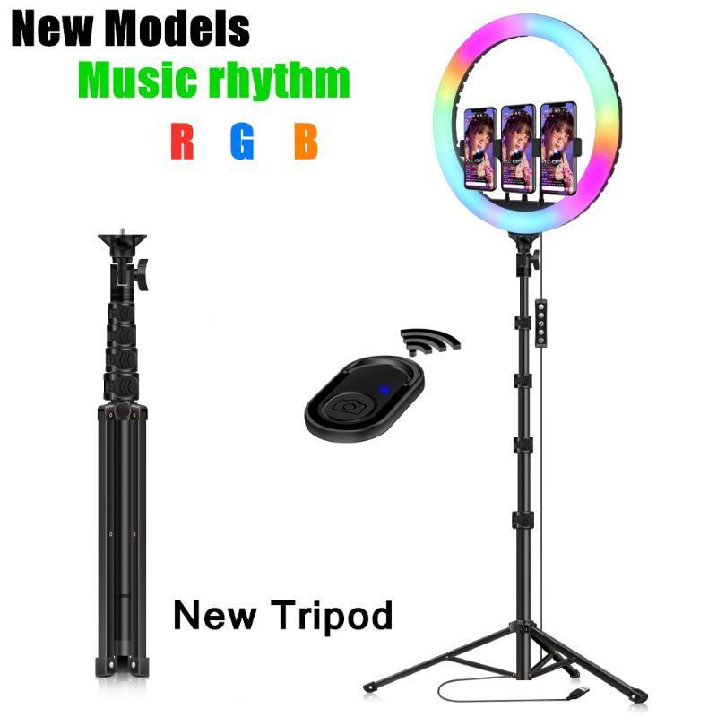 Clipe RGB Anel Luz com tripé Telefone selfie colorida Fotografia Lighting 10 polegadas para Studio Vlogging YouTube pequeno vídeo ao vivo