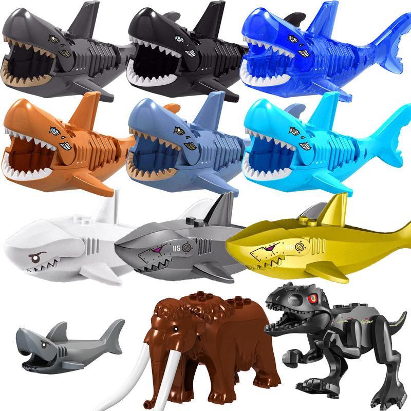 Hayvanlar Tiger Leopar Ayı Fil Karayip Hayalet Köpekbalığı Dinozorlar Modeli Yapı Taşları Enlighten Şekil Oyuncaklar İçin Çocuk