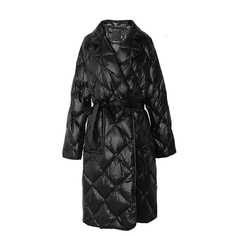 PERHAPS U Women Black Beige Cold Midi Long Notch Collar Sash Pocket Elegant Quilted Coat Puffer C0248 201014