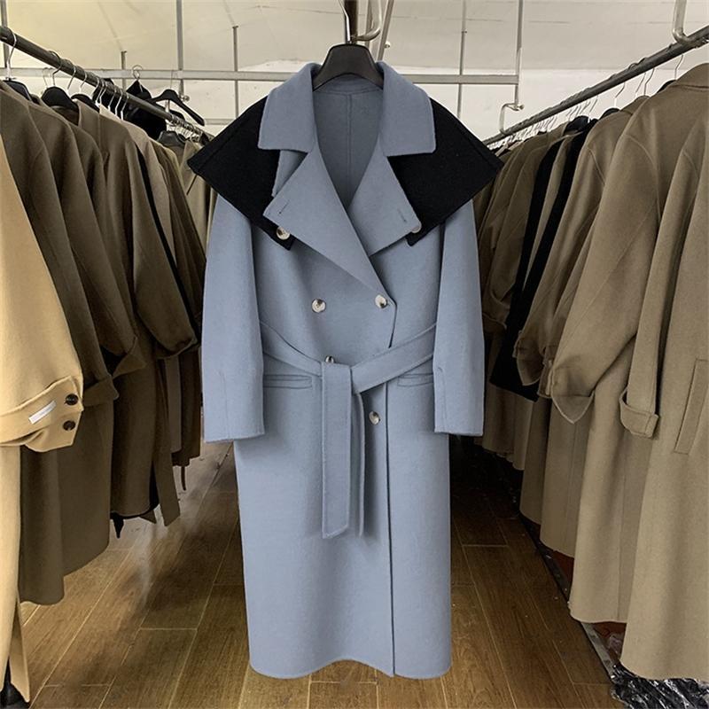 Winter coréen femmes double face laine à la main double manteau de laine brossée femmes haut de gamme X-Long High Street Cloak Manteaux 201104