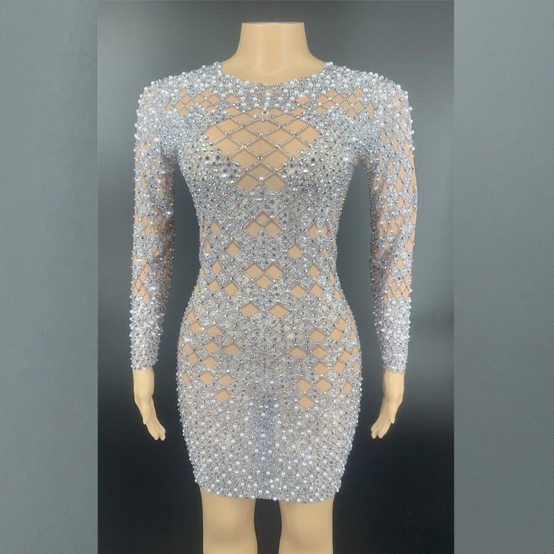 New Design Rhinestones Pearls Mesh Dress Birthday Celebrate Stretch Dress See Through Outfit Singer Prom Party Performance Wear