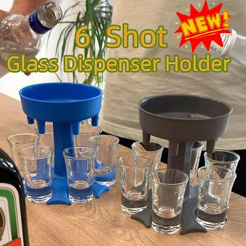 6 Shot Glass Dispenser Holder Wine Whisky Beer Dispenser Rack Bar Accessories Caddy Liquor Dispenser Party Games Drinking Tools