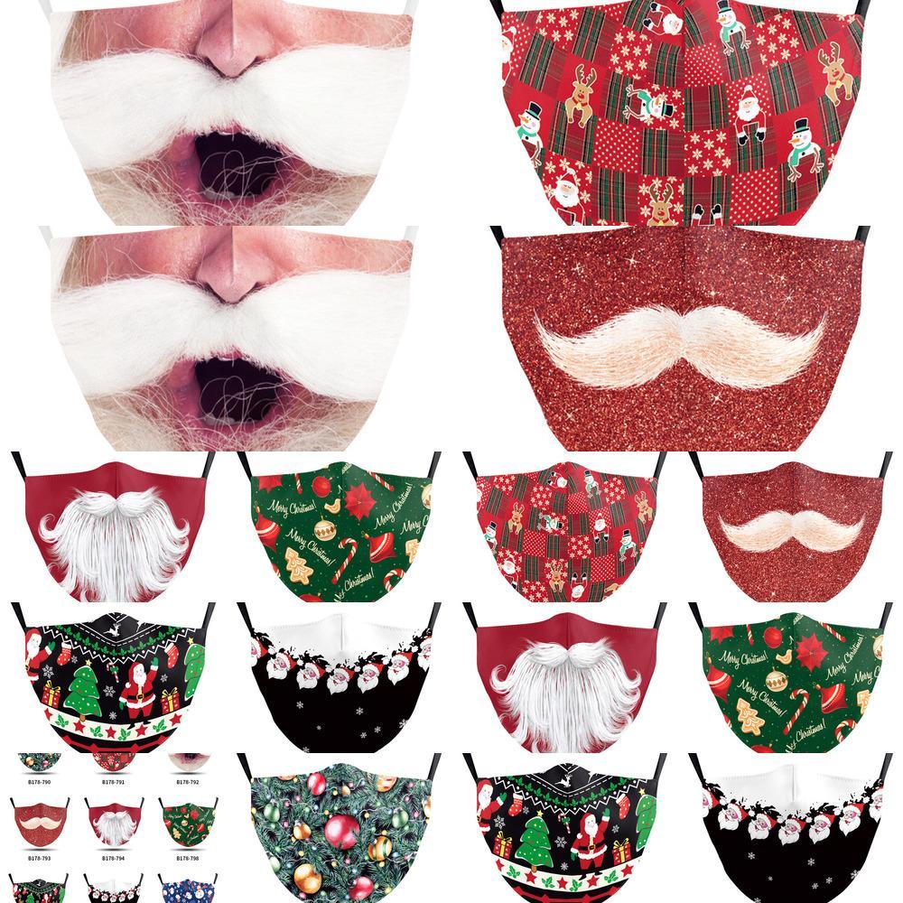 мода 1OWB моющийся взрослых мультфильм маска для лица Рождество Printed Санта маска пыли матовости цифровой печати маски для мужчин женщин