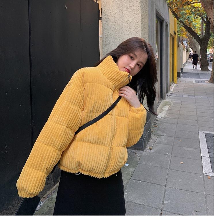 2021 O novo novo novo coreano feminino solto algodão-acolchoado inverno pequeno jaqueta de pão O74O