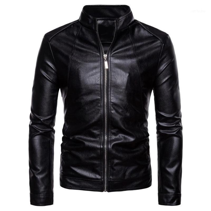 Chaquetas de la chaqueta de la chaqueta de la Moda de la Moda Sólido Color de la Motocicleta Chaquetas de invierno Chaqueta de cuero negro a prueba de viento Abrigo de invierno de otoño