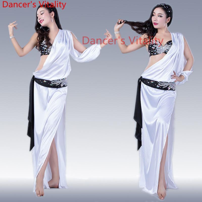 Ropa de danza de la danza del vientre profesional de la etapa Set sexy Sujetador + vestido + tocado + bufanda de cadera Traje de mujer para niñas
