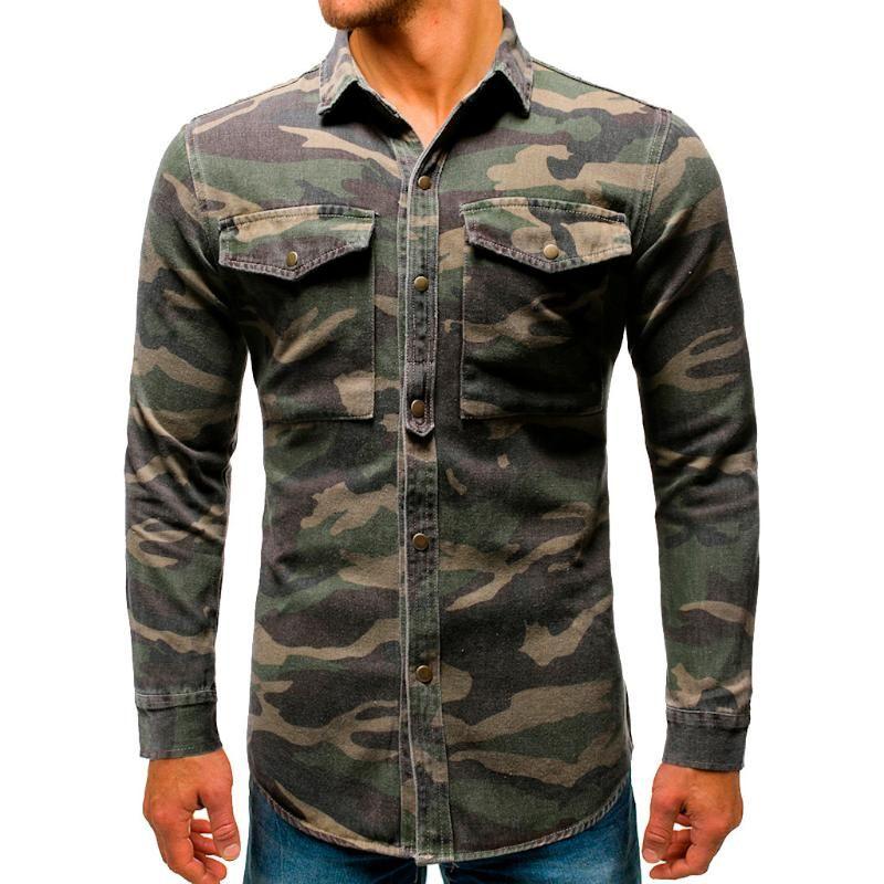 Camuflaje camisa de los hombres de mezclilla camisa de manga larga ocasional del cargo con el bolsillo superior de la blusa de manga larga para hombre de corte regular
