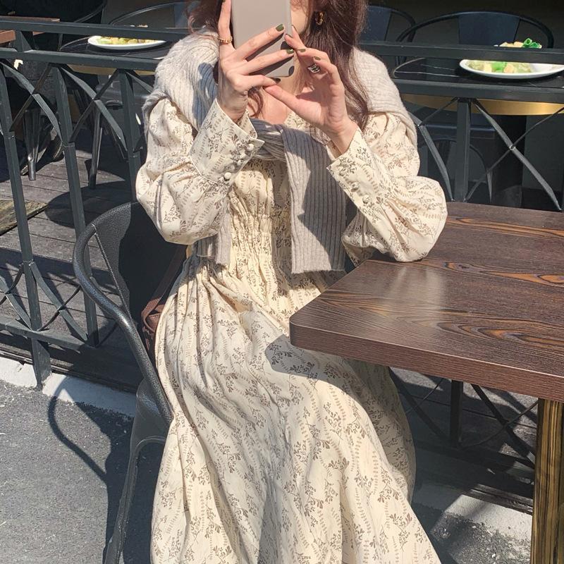 2 색 2021 프랑스 레트로 패딩 라이닝 플로랄 긴 소매 드레스 꽃 Boho 파티 바디 콘 캐주 맥시 드레스 의류 66633506634641