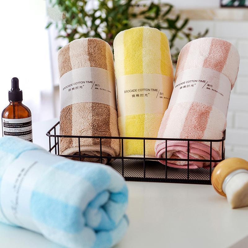 Ampia striscia faccia cationico asciugamano di lavaggio per la casa e l'uso quotidiano per gli uomini e le donne acqua dolce assorbente cucito corallo pile telo da bagno