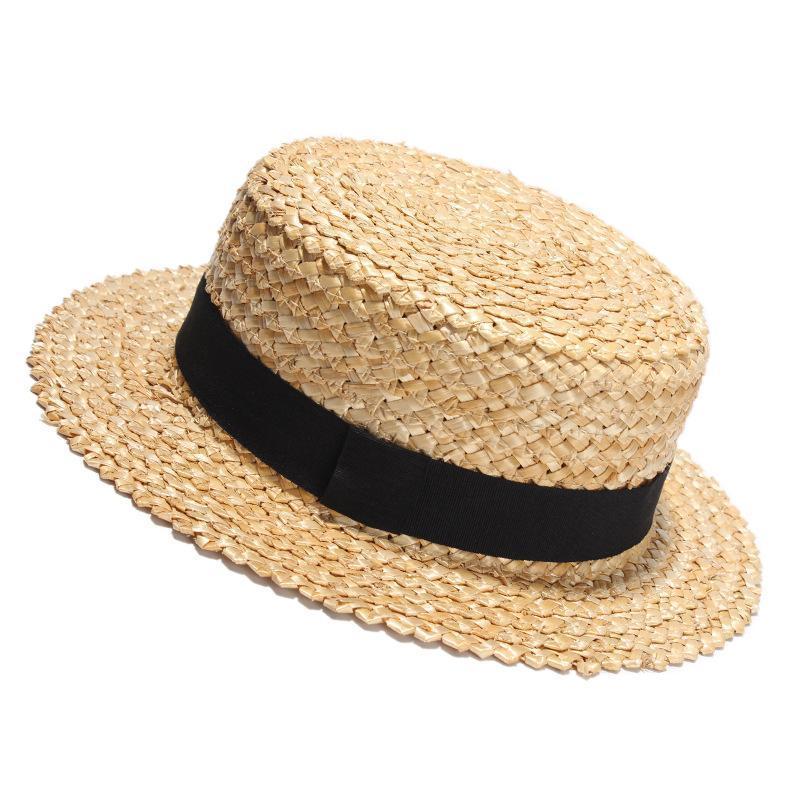2020 nuova estate di paglia naturale del cappello di Sun per la spiaggia di modo delle donne degli uomini cappelli da donna piatto Sunhat per le vacanze