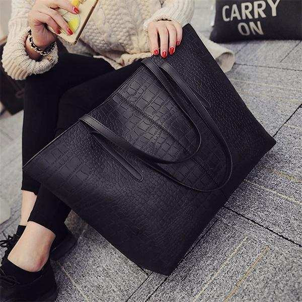 2020 Big New Women Shoulder Alligator Ladies Leather Bags Casual zipper handbags Famous Brands Totes black red colors Q1104