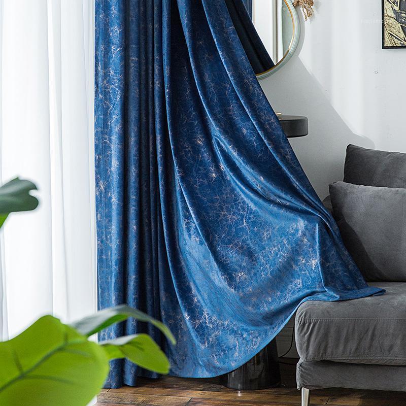 Modèle de marbre Velvet bleu foncé 85% Blackout rideaux pour salon violet fissure chambre rideaux à la maison Panneau de texture my081 # 301