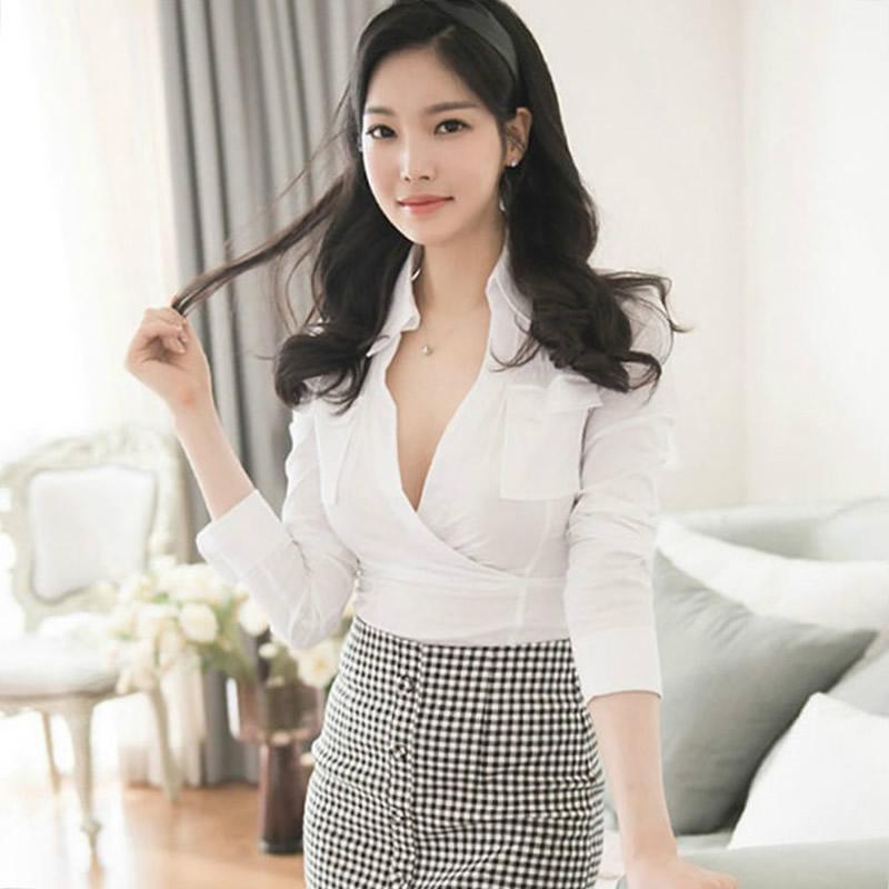 Frauen Blusen Hemden Hemden Herbst Vollarm Solid Casual Bluse Büro V-Ausschnitt Sexy Top