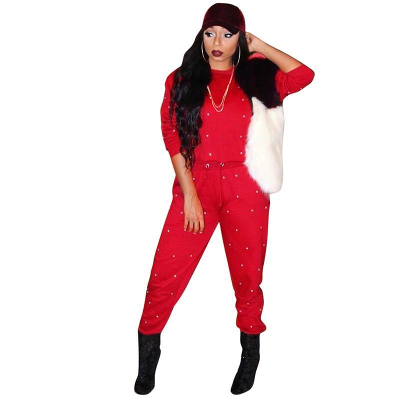 Moda Kadın Mürettebat Boyun İki Adet Pantolon İnci Tasarımcı Bayan İki Parça Setler Gevşek Spor Bayan Giyim