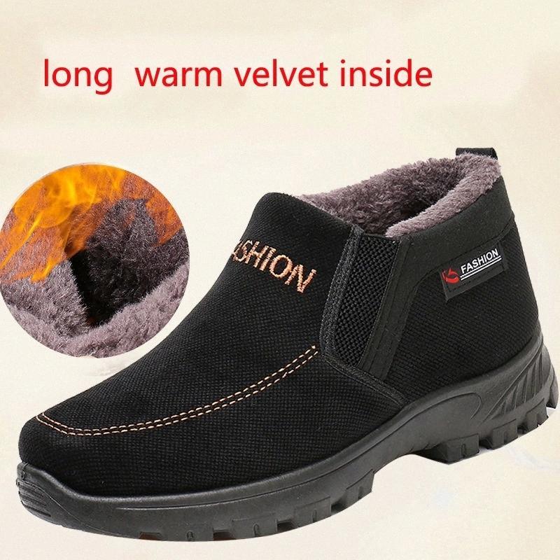 2020 Novos Sapatos de Algodão Sapatos de Pai Homens Inverno Plus Veludo calor antiderrapante tendão macio fundo velho espessado # FQ86