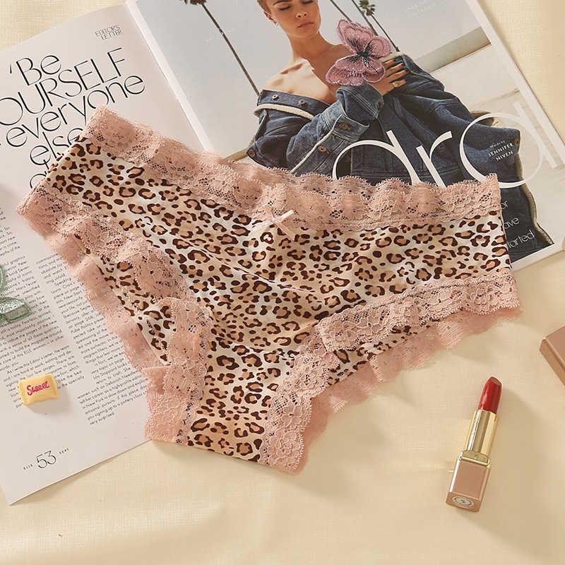 Sexy leopard estampado con hielo caliente seda de seda ropa interior femenina verano ultra fino muchacha baja cintura encaje triángulo pantalones
