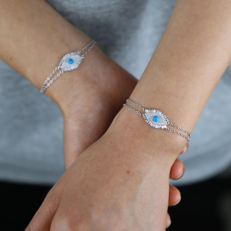 2021 New Arrived Lucky Turkish Evil Eye CZ Charm Double Link Chain Bracelet Silver Color 16+5cm Lovely Fashion Party Jewelry