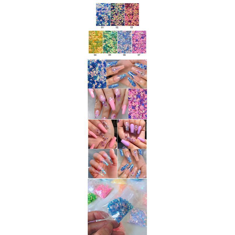12 сетки / комплект голографический гвоздь блестки серебристый розовый блестящий 3D тонкие тонкая бабочка хлопья украшения ногтей искусство diy acc jllixp