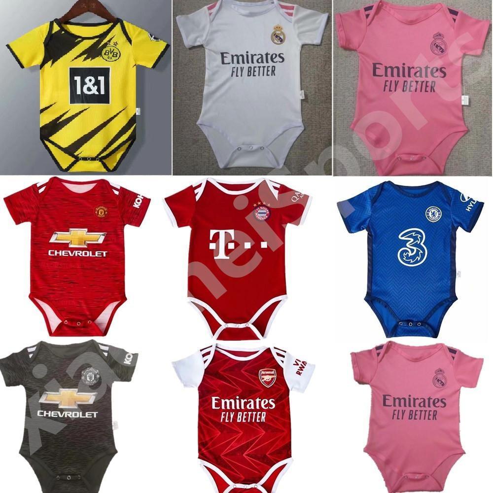 2020 2021 ريال مدريد المولود الجديد لكرة القدم جيرسي الطفل مانشستر يونايتد 6-18 شهرا طفل BB كرة القدم مروحة جيرسي 20 21 عبقرية لكرة القدم جيرسي