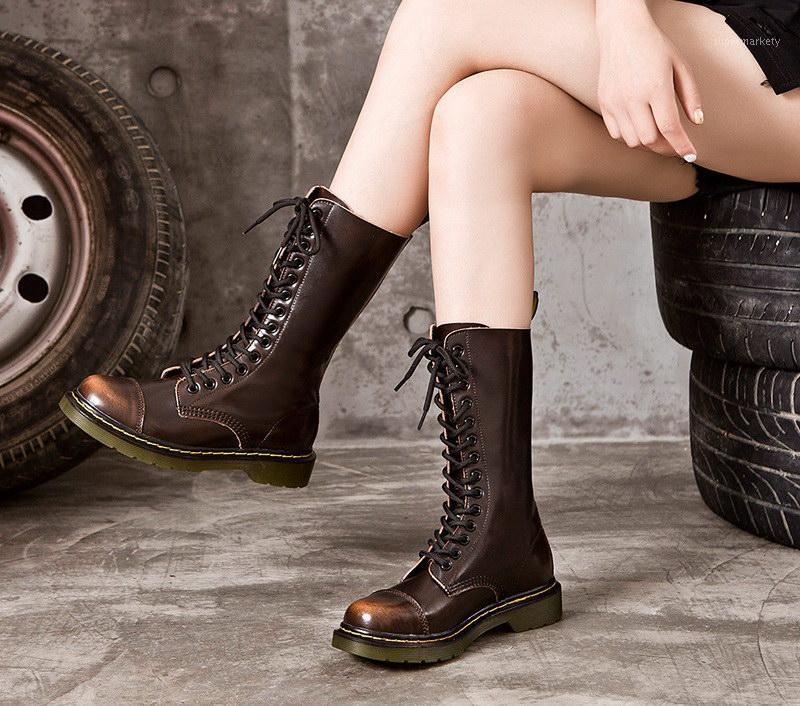 British British Новые Женские Мотоциклисты Мотоцикл Черный Круглый Носок Кружева Женщина Мода Средний Тельф Сапоги Панк Обувь Плюс Размер 43 441