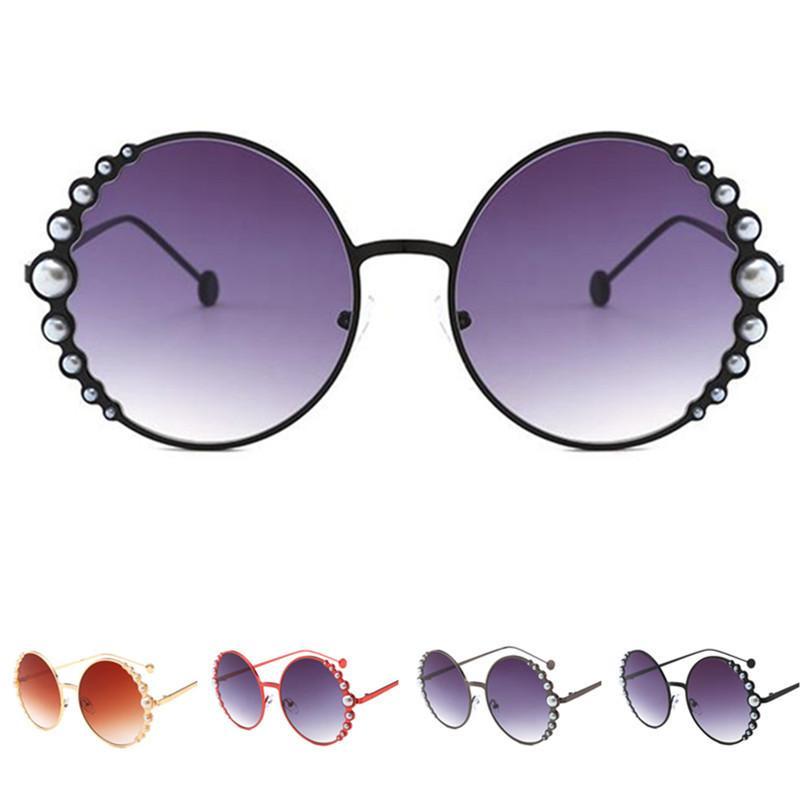 İnci Gözlükler Moda Güneş Gözlüğü Çerçeve Güneş Gözlük Kadın Çerçeveleri Alaşım Anti-Uv Gözlük Gözlük Yuvarlak Tasarım A ++ Glasse Crug
