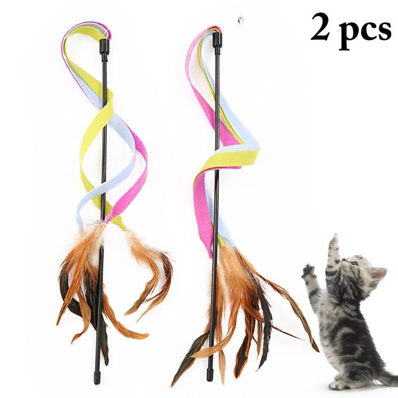 2PCS Üç Renkli Bezleri ile Tüy Bells Kedi Fragman Wand Yaratıcı Tüy Kurdele Kedi Fragman Oyuncak İnteraktif Oyuncak