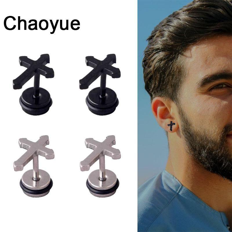 Erkek Klasik Çapraz Saplama Küpe Paslanmaz Çelik Basit Siyah Piercing Küpe Adam Kadınlar Için Unisex Minimalist Takı