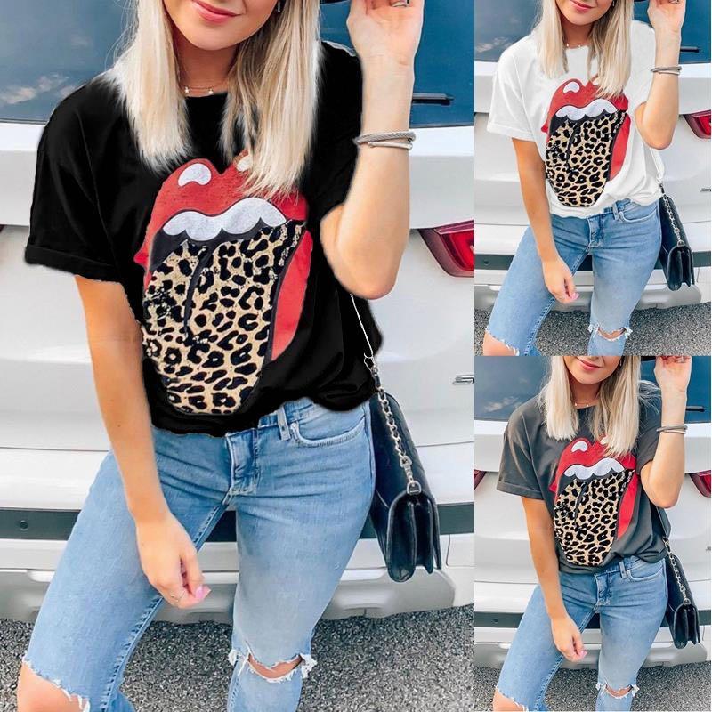 Equipo de manga para mujer Leopardo Labios Impresión Tees Necogle para mujer Tshirt Tshirt T-shirts LEOPARD T SHIRTS Blusa Camiseta Diseñador Tops Corto Jxag