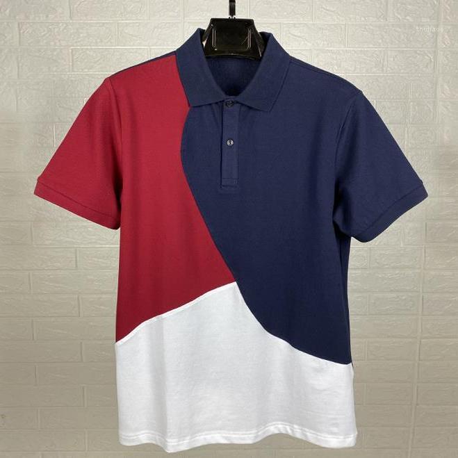 고품질 colorblock 남성 반소매 악어 셔츠 여름 100 % 코 튼 캐주얼 셔츠 남성 패션 homme1